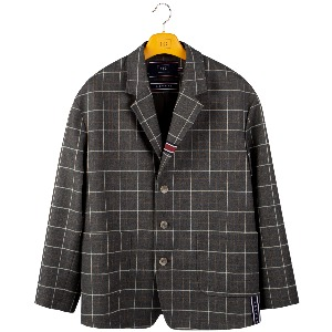 FRIDAY THREE BUTTON CHECK JACKET_GREY