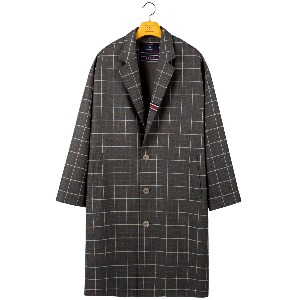 FRIDAY THREE BUTTON CHECK COAT_GREY