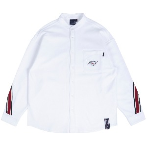 HENRY NECK BACK LINE SHIRT_WHITE