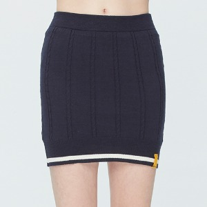CABLE KNIT SKIRT_NAVY