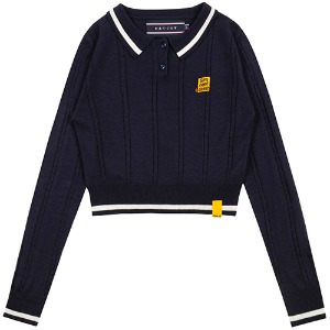 GNAC CABLE KNIT POLO_NAVY