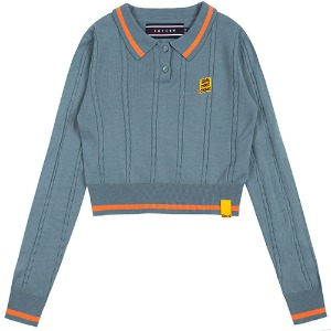GNAC CABLE KNIT POLO_LIGHT BLUE