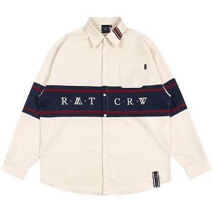 RMTCRW CROSS LINE SHIRT_OATMEAL