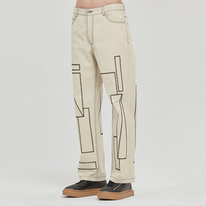 SQUARE PATTERN COTTON PANTS_OATMEAL