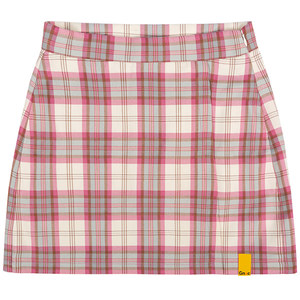 GNAC CHECK WRAP SKIRT_PINK