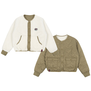 WOMANS REVERSIBLE FLEECE JACKET_BEIGE