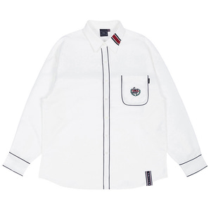 SUNDAY SYNDROME PIPING SHIRT_WHITE