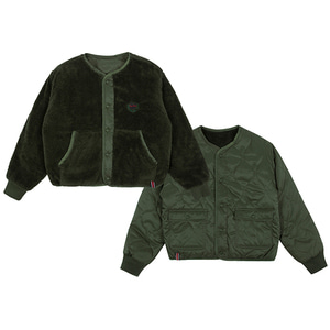 WOMANS REVERSIBLE FLEECE JACKET_KHAKI