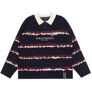 COLOR WAVE KNITTED POLO SHIRTS_NAVY