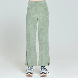 WOMANS CORDUROY BUTTON PANTS_LIGHT GREEN