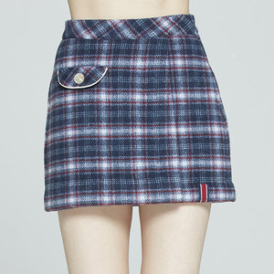 FRONT POCKET CHECK SKIRT_NAVY