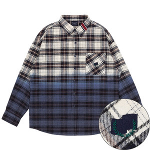 GRADATION CHECK SHIRT_NAVY
