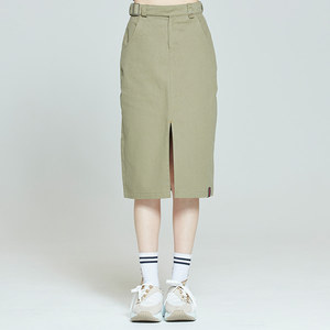 FRONT PLACKET SKIRT_KHAKI