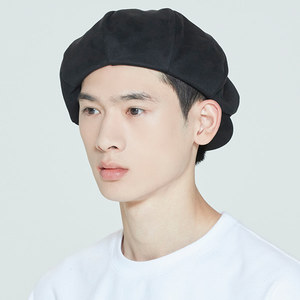 LAUREL LOGO SUEDE NEWS BOY CAP_BLACK