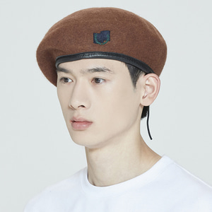 LAUREL LOGO BERET_BROWN