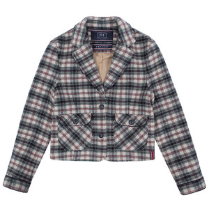 WOMANS CHECK JACKET_OATMEAL