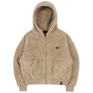 WOMANS FLEECE HOODIE ZIP UP_BEIGE
