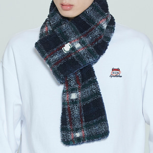 CHECK FLEECE MUFFLER_NAVY