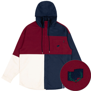 COLOR BLOCK HOODIE SHIRT_NAVY