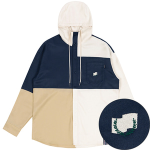 COLOR BLOCK HOODIE SHIRT_OATMEAL