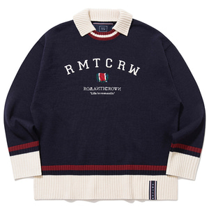 RMTCRW CLUB COLLAR KNIT_NAVY