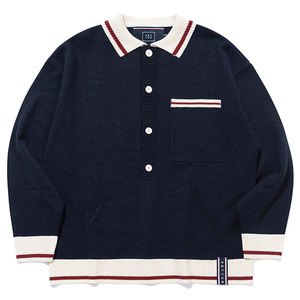 BUTTON UP KNIT SWEATER_NAVY