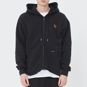 WAVE CUT HOOD ZIP UP_BLACK