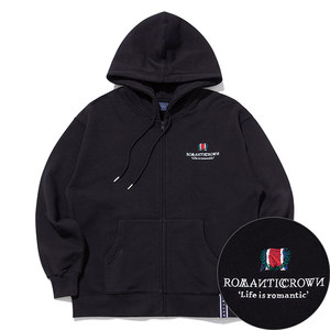 LIFE IS ROMANTIC HOOD ZIP UP_BLACK