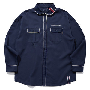 ROUND COLLAR PIPING SHIRT_NAVY