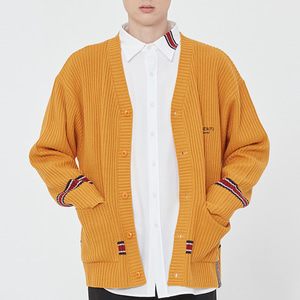 RIBBED KNIT CARDIGAN_YELLOW