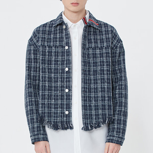 TWEED TRUCKER JACKET_NAVY