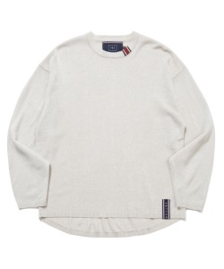 BASIC KNIT LONG SLEEVES_MELANGE IVORY