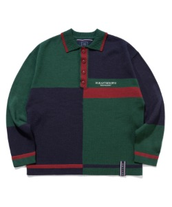 CONTRAST KNIT POLO_GREEN
