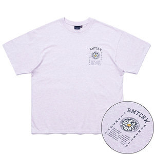 FLOWER FACE SLOGAN TEE_MELANGE LIGHT PURPLE
