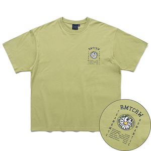 FLOWER FACE SLOGAN TEE_LIGHT KHAKI