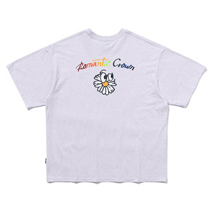 FLOWER FACE LOGO TEE_MELANGE LIGHT PURPLE