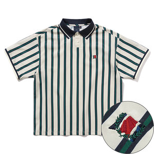 SLASH STRIPE POLO_OATMEAL