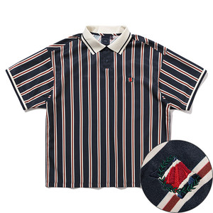 SLASH STRIPE POLO_NAVY