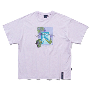 TROPICAL POOL TEE_MELANGE LIGHT PURPLE